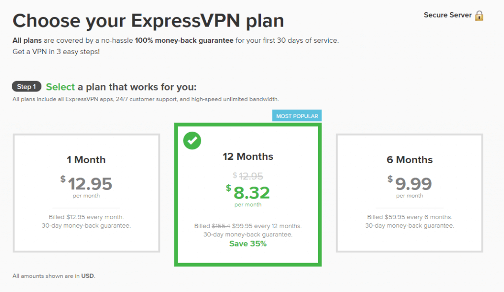Choose an ExpressVPN subscription plan