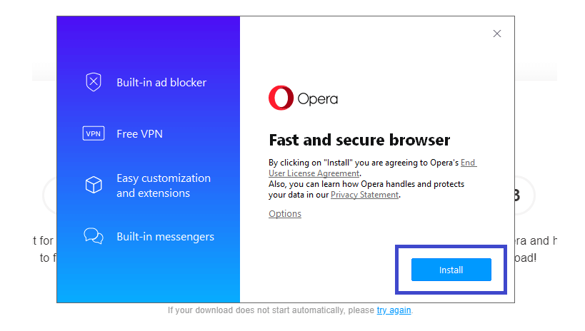 install opera browser vpn