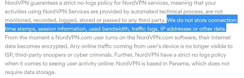 nordvpn no logging