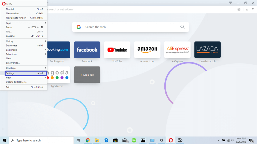 opera browser settings
