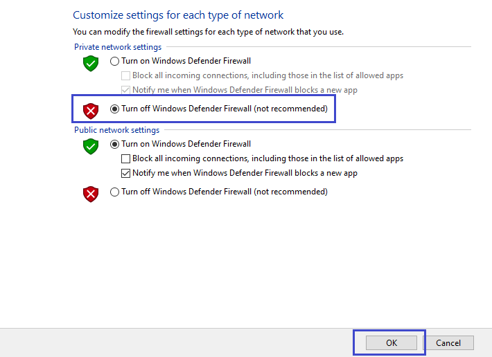 click windows firewall on or off
