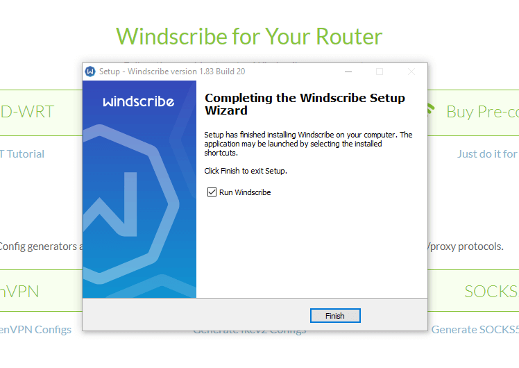 finish windscribe vpn installation on windows