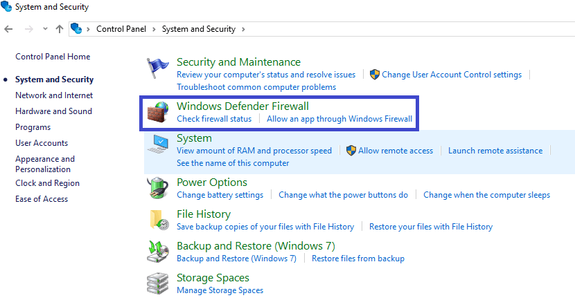 go to windows defender firewall