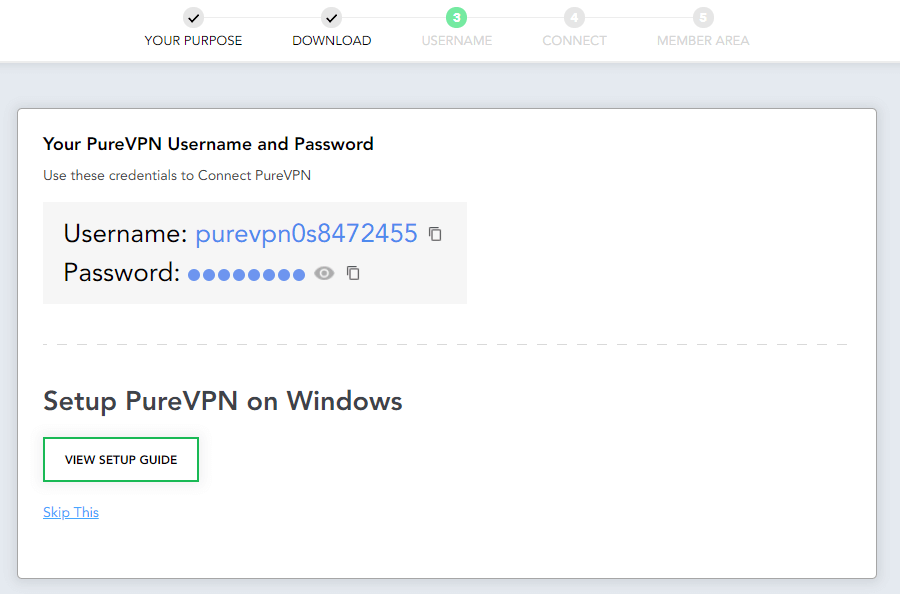 purevpn installation setup credentials