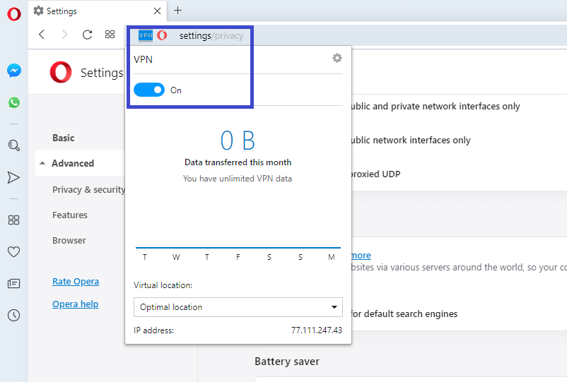 toggle on off opera browser vpn