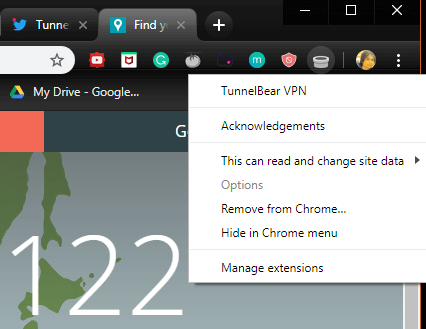 fix tunnelbear chrome not working